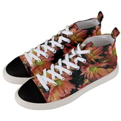 Cream And Pink Fall Flowers Men s Mid Top Canvas Sneakers by bloomingvinedesign