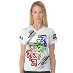 Ddr Note Women s V Neck Sport Mesh Tee