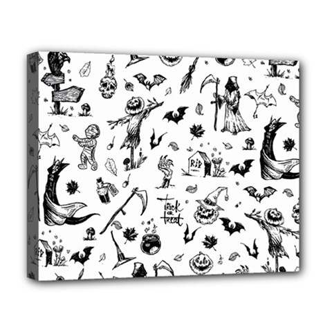 Halloween Pattern Deluxe Canvas 20  X 16  (stretched) by Valentinaart