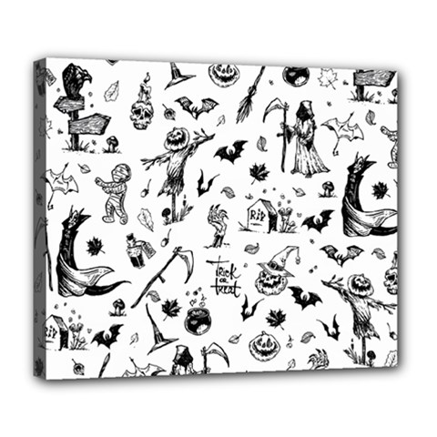 Halloween Pattern Deluxe Canvas 24  X 20  (stretched) by Valentinaart