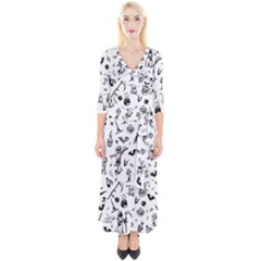 Halloween Pattern Quarter Sleeve Wrap Maxi Dress