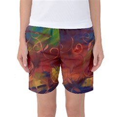 Abstract Fall Swirls Women s Basketball Shorts