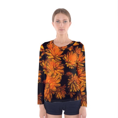 Yellow Flower Abstract Women s Long Sleeve Tee by bloomingvinedesign