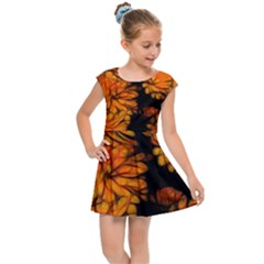Yellow Flower Abstract Kids Cap Sleeve Dress by bloomingvinedesign