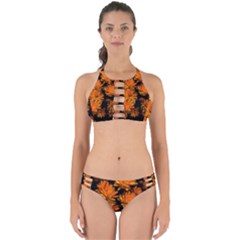 Yellow Flower Abstract Perfectly Cut Out Bikini Set