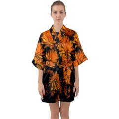 Yellow Flower Abstract Quarter Sleeve Kimono Robe