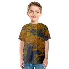 Yellow Fall Leaves And Branches Kids  Sport Mesh Tee by bloomingvinedesign