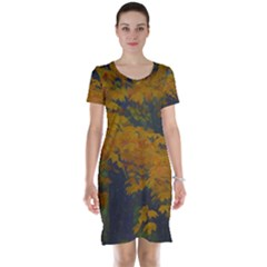 Yellow Fall Leaves And Branches Short Sleeve Nightdress