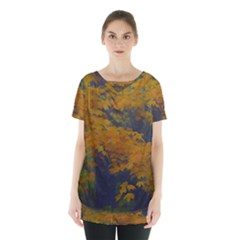 Yellow Fall Leaves And Branches Skirt Hem Sports Top