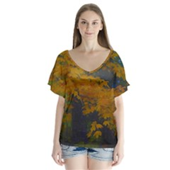 Yellow Fall Leaves And Branches V Neck Flutter Sleeve Top by bloomingvinedesign
