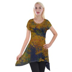 Yellow Fall Leaves And Branches Short Sleeve Side Drop Tunic by bloomingvinedesign