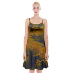 Yellow Fall Leaves And Branches Spaghetti Strap Velvet Dress by bloomingvinedesign