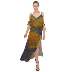Yellow Fall Leaves And Branches Maxi Chiffon Cover Up Dress by bloomingvinedesign
