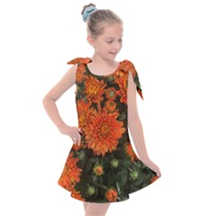 Orange Fall Mums Kids  Tie Up Tunic Dress
