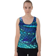 Mermaid Print Velvet Tank Top
