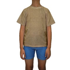 Burlap Coffee Sack Grunge Knit Look Kids  Short Sleeve Swimwear by dressshop