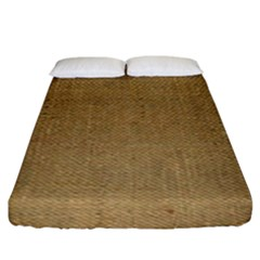 Burlap Coffee Sack Grunge Knit Look Fitted Sheet (king Size) by dressshop