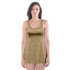 Burlap Coffee Sack Grunge Knit Look Skater Dress Swimsuit by dressshop