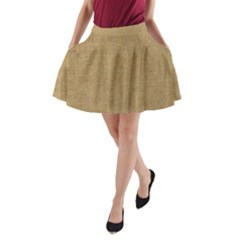 Burlap Coffee Sack Grunge Knit Look A-line Pocket Skirt by dressshop