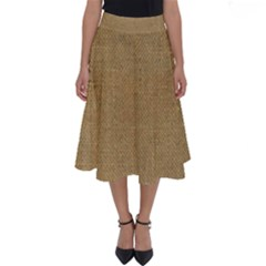 Burlap Coffee Sack Grunge Knit Look Perfect Length Midi Skirt by dressshop
