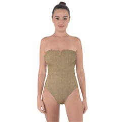 Burlap Coffee Sack Grunge Knit Look Tie Back One Piece Swimsuit