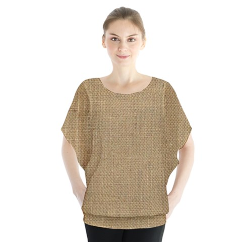 Burlap Coffee Sack Grunge Knit Look Batwing Chiffon Blouse by dressshop