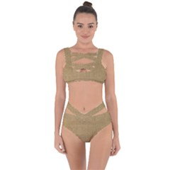 Burlap Coffee Sack Grunge Knit Look Bandaged Up Bikini Set  by dressshop