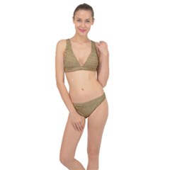 Burlap Coffee Sack Grunge Knit Look Classic Banded Bikini Set  by dressshop