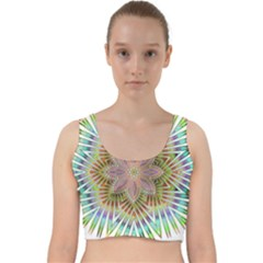 Star Flower Glass Sexy Chromatic Symmetric Velvet Racer Back Crop Top