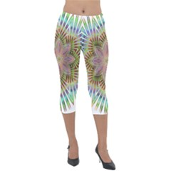 Star Flower Glass Sexy Chromatic Symmetric Lightweight Velour Capri Leggings