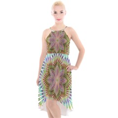 Star Flower Glass Sexy Chromatic Symmetric High Low Halter Chiffon Dress