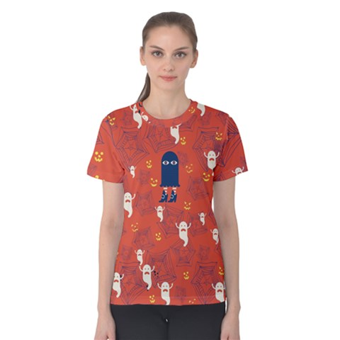 Halloween Monster Spider Web Women s Cotton Tee by Wanni