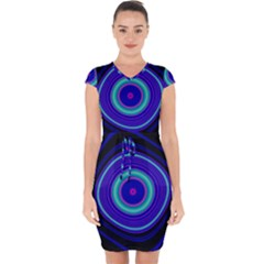 Digital Art Background Pink Blue Capsleeve Drawstring Dress