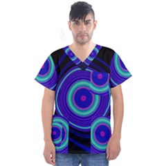 Digital Art Background Pink Blue Men s V Neck Scrub Top