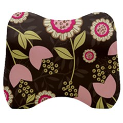 Flowers Wallpaper Floral Decoration Velour Head Support Cushion by Sapixe