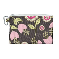 Flowers Wallpaper Floral Decoration Canvas Cosmetic Bag (large)