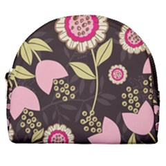 Flowers Wallpaper Floral Decoration Horseshoe Style Canvas Pouch by Sapixe