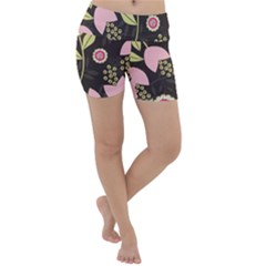 Flowers Wallpaper Floral Decoration Lightweight Velour Yoga Shorts by Sapixe