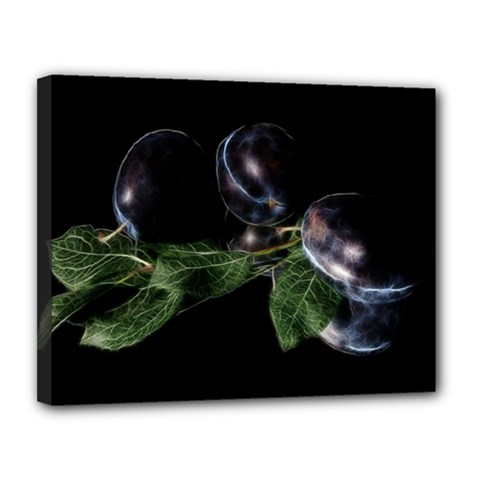Plums Photo Art Fractalius Fruit Canvas 14  X 11  (stretched) by Sapixe
