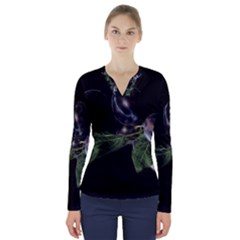 Plums Photo Art Fractalius Fruit V Neck Long Sleeve Top by Sapixe
