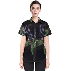 Plums Photo Art Fractalius Fruit Women s Short Sleeve Shirt by Sapixe