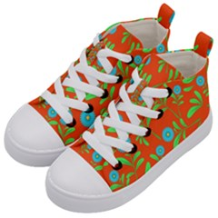 Background Texture Seamless Flowers Kid s Mid Top Canvas Sneakers by Sapixe