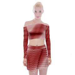 Background Light Glow Abstract Art Off Shoulder Top With Mini Skirt Set