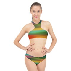 Art Blur Wallpaper Artistically High Neck Bikini Set
