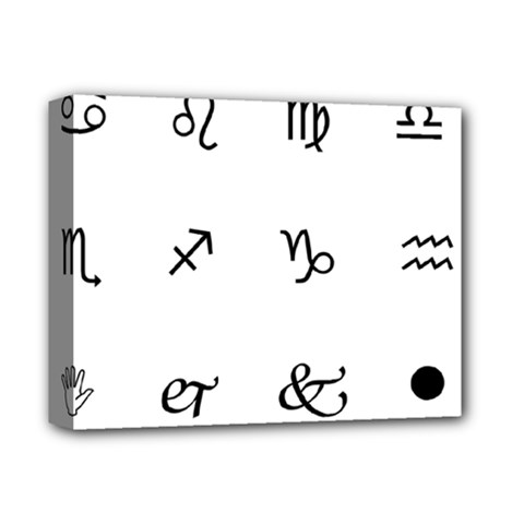 Set Of Black Web Dings On White Background Abstract Symbols Deluxe Canvas 14  X 11  (stretched)