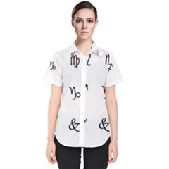 Set Of Black Web Dings On White Background Abstract Symbols Women s Short Sleeve Shirt by Jojostore
