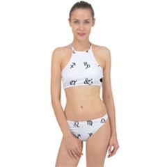Set Of Black Web Dings On White Background Abstract Symbols Racer Front Bikini Set by Jojostore