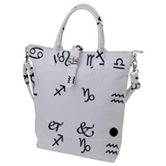 Set Of Black Web Dings On White Background Abstract Symbols Buckle Top Tote Bag