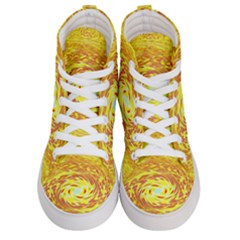 Yellow Seamless Psychedelic Pattern Men s Hi Top Skate Sneakers