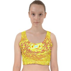 Yellow Seamless Psychedelic Pattern Velvet Racer Back Crop Top